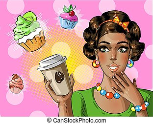 Vector pop art african american woman holding coffee to go
