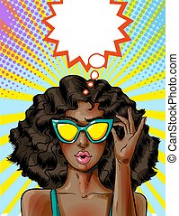 Vector pop art african american woman in yellow sunglasses