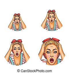 Vector pop art avatar of shocked, surprised blonde girl with opened mouth in casual clothing. Icon for blog, chat