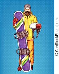Vector pop art bearded man with snowboard