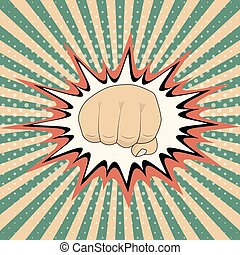 Vector pop art cartoon fist comic book crash explosion graph, Vintage Pop Art Punching Fist Clenched hitting