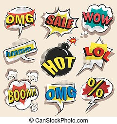 Vector pop art comic speech bubble set with abbreviations