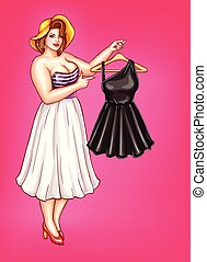 Vector pop art fat woman holds hanger with dress