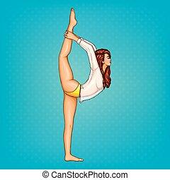Vector pop art girl doing gymnastics or yoga