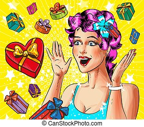Vector pop art happy young woman with gift boxes