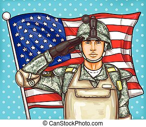 Vector pop art illustration for a memorial day - a male soldier against an American flag