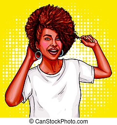Vector pop art illustration of a black woman touches her hair.