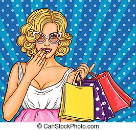 Vector pop art illustration of a young sexy happy girl holding shopping bags.