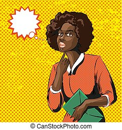 Vector pop art illustration of african woman with curly hair
