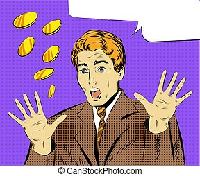 Vector pop art illustration of amazed and surprised businessman