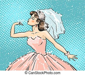 Vector pop art illustration of bride looking at wedding ring