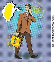 Vector pop art illustration of businessman talking on the phone
