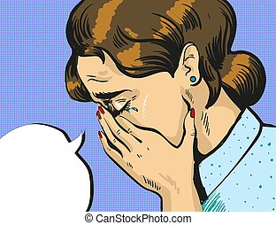 Vector pop art illustration of crying woman