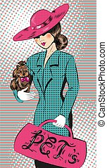 Vector pop art illustration of girl in hat with dog