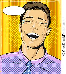 Vector pop art illustration of laughing man