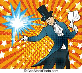 Vector pop art illustration of magician performing trick -...