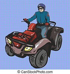 Vector pop art illustration of man riding quad bike