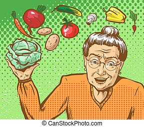 Vector pop art illustration of mature woman with vegetables