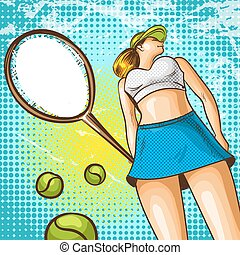 Vector pop art illustration of tennis player with racket