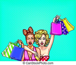 Vector pop art illustration of two young glamorous enthusiastic girls show shopping bags with their purchases