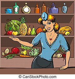 Vector pop art illustration of woman with fruit and vegetables