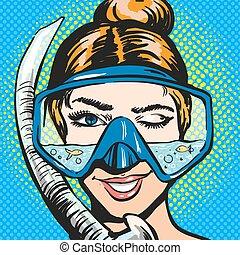 Vector pop art illustration of woman in scuba diving...