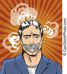 Vector pop art illustration of young man with taped mouth