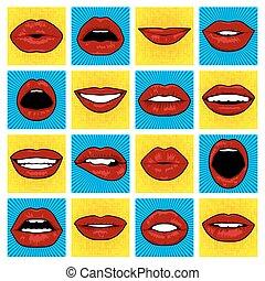 Vector Pop Art lips. - Pop Art lips set. Vector EPS8...