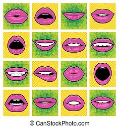 Vector Pop Art lips. - Pop Art lips set. Vector EPS8...