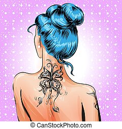 Vector pop art pin-up girl with tattoo