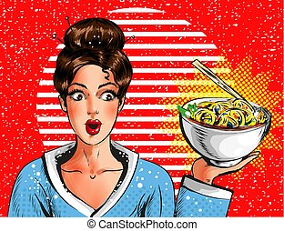 Vector pop art pretty young girl holding bowl with pasta