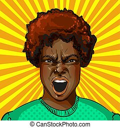 Vector pop art screaming aggressive african american woman