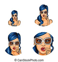 Vector pop art social network user avatars of woman girl surprised with blue hair in sunglasses. Retro sketch profile icons