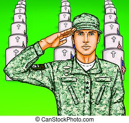 Vector pop art soldier render military salute on the background of rows of grave stones with national flags