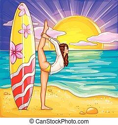 Vector pop art surfing girl doing yoga