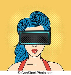Vector pop art surprised woman wearing virtual reality glasses.