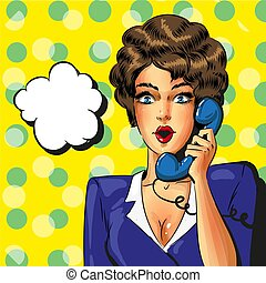 Vector pop art vintage business woman talking on the phone