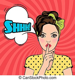 Vector pop art woman asking for silence