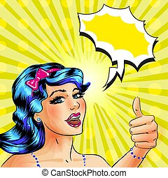 Vector pop art woman with thumb up hand gesture