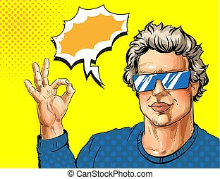 Vector pop art young man showing ok hand sign