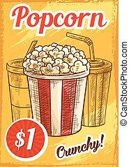 Vector popcorn menu sketch cinema cafe poster