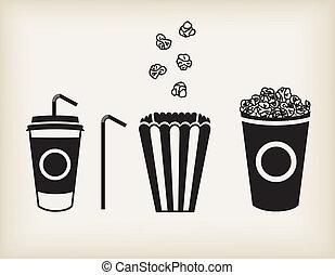 Vector popcorn set - Vector illustration of soda cup, straw...