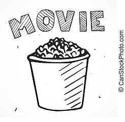 Vector popcorn with text, hand drawn