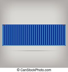 vector popular cargo blue container shipping freight isolated te