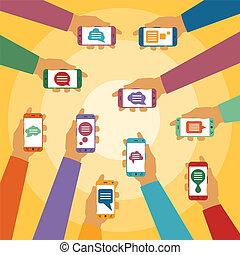 vector, popup, instante, charla, móvil, smartphones, cajas, concepto, mensajero, diálogo, manos