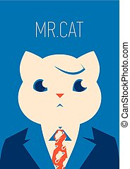Vector portait of a cat in suit and tie. businessman character
