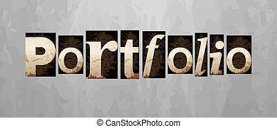 Vector portfolio concept, vintage letterpress type