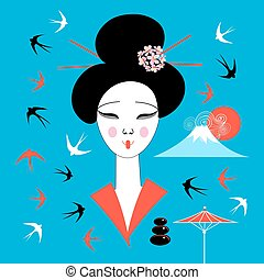 Vector portrait of a Japanese geisha