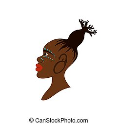 Vector portrait of African woman with traditional hairstyle in baobab tree shape and war-paint makeup. Baobab concept