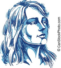 Vector portrait of attractive pensive woman thinking about something, illustration of good-looking female. Person emotional face expression.